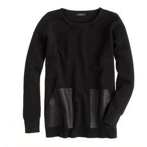 J.Crew Black Merino Leather Pocket Sweater